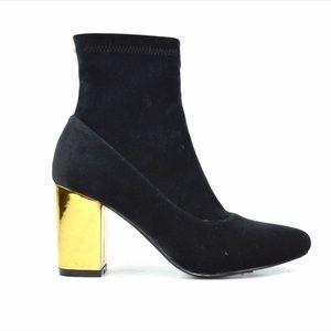 Chase & Chloe Milly Black Velvet Golden Heel boot